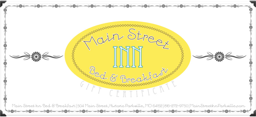 gift certificates kansas city bed breakfast main street inn